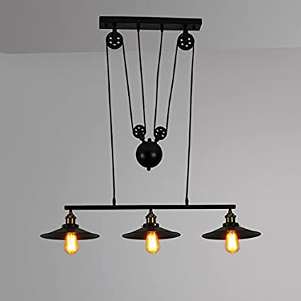 Winsoon Pendant Light Pulley Lamp Adjustable Wire Antique 3 Light
