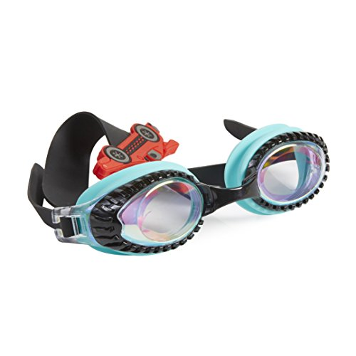 (Bling 2O Kids Swimming Goggles - Teal Race Car Swim Goggles for Boys and Girls - Anti Fog, No Leak, Non Slip, UV Protection with Hard Travel Case - 8+)