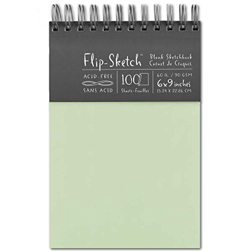 Global Art 960030 6-Inch by 9-Inch Flip Sketch Wire Bound Blank Sketchbook, Mist, 100 Pages