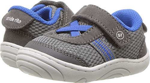 Stride Rite Boys' SR-Jackson Sneaker Grey/Blue 6 M US Toddler