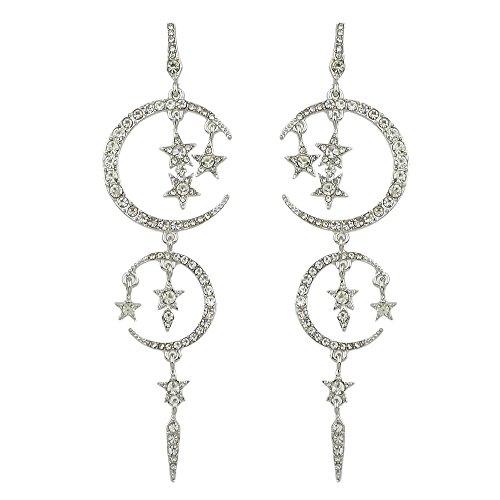 JD Million shop Star Moon Earrings Gunblack Silver Color with Full Rhinestone Long Drop Hanging Earrings