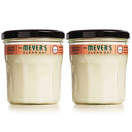 MRS MEYERS Soy Candle Large, Geranium, 7.2 Ounce (Pack of 2)