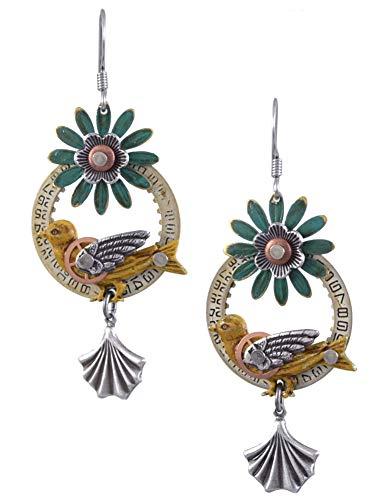 Mechanical Bird Upcycled Clockwork Earrings from Mullanium Jewelry