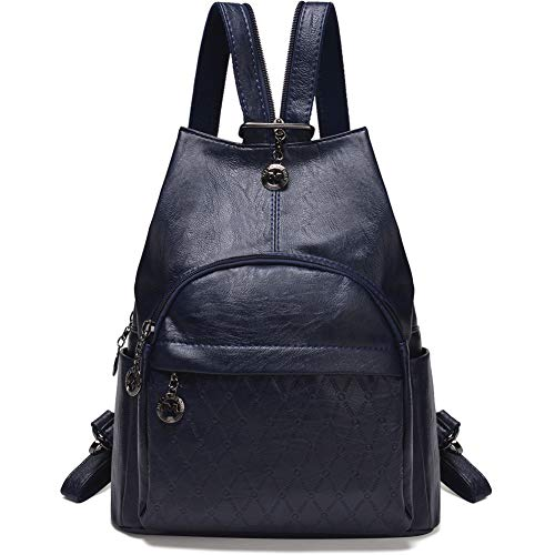 Small Leather Convertible Backpack Sling Purse Shoulder Bag for Women (Blue) ()