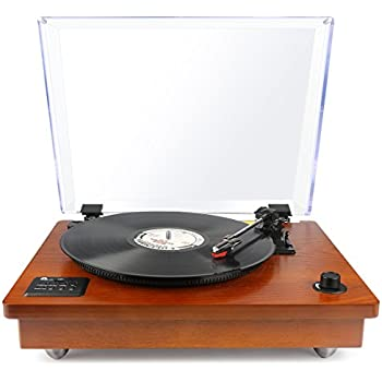 1byone Belt Driven Bluetooth Turntable with Built-in Stereo Speaker,  Vintage Style Record Player