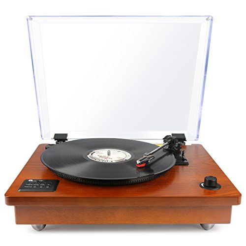 1byone Belt Driven Turntable with Built in Stereo Speaker, Wireless Connection Vintage Style Record Player, Vinyl to MP3 Recording, Natural Wood