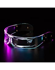 LED Luminous Glasses, 7-Color Cyberpunk LED Visor Glasses, Futuristic Electronic Visor Glasses, Perfect For Cosplay and Festivals, for Party Disco DJ Music,Concert Live,Fancy Dress