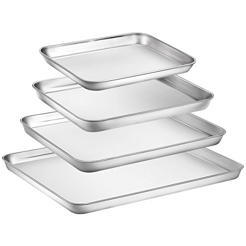 Stainless Steel Steel Cookie Sheet - Baking Sheet Set of 4, Zacfton Stainless Steel Cookie Sheet Set 4 Pieces Toaster Oven Tray Pan Rectangle Size Non Toxic & Healthy,Superior Mirror Finish & Easy Clean, Dishwasher Safe