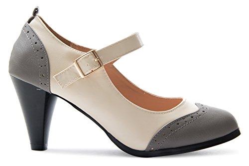 White Color Vintage Grey Pumps Shoe Olivia Low Retro Heels K Womens Round Toe Mary Jane Two WnZFfZ6