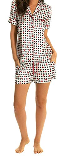 In Bloom by Jonquil Women's Satin Black Gingham Shorts Set, Red Hearts, X-Large