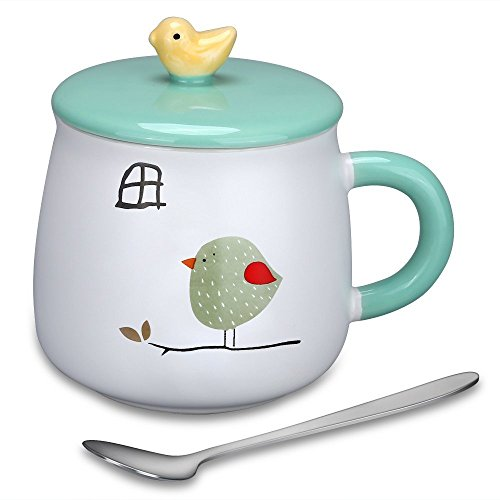 Bird Large Mug - Large Coffee Mug - 15.4Oz Lovely Cute 3D Bird Mugs Creative Ceramic Tea Cup with Lid & Spoon Kids Milk Cup,Birthday Gifts for Women Animal Lovers by Doublewhale