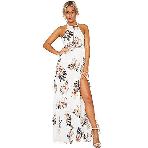 Harson&Jane Mujeres Maxi Largo Vestido de Gasa con Impresión Floral Cabestro Horquilla Abierta Escotado por detrás Elegante Vestido de Playa Blanco
