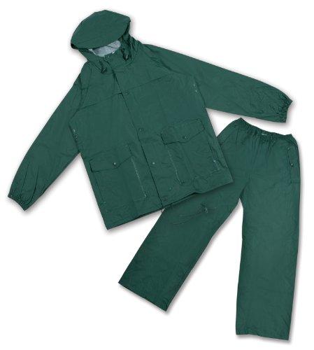 Stansport Men's Deluxe PVC/Nylon Rainsuit with Hood, Green, Small ()