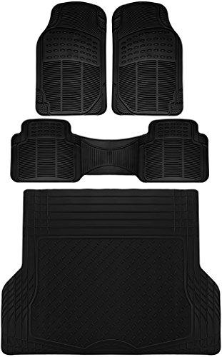 OxGord 4pc Rear Set Ridged Rubber Floor Mats, Universal Fit Mat for SUVs Vans- Rear Driver Passenger Side, Rear Runner and Trunk Liner Black ()