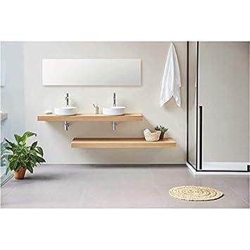 Plan Vasque Suspendu Zero pour Salle de Bain Design, chêne 140 cm ...
