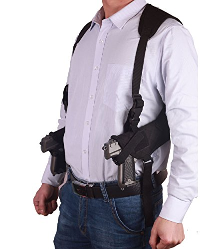 ZHW Tactical Universal Double Draw Shoulder Holster,Versatile Breathable Concealed Carry for Pistol Handgun Gun,Adjustable Elastic Band for Women Men (Black)
