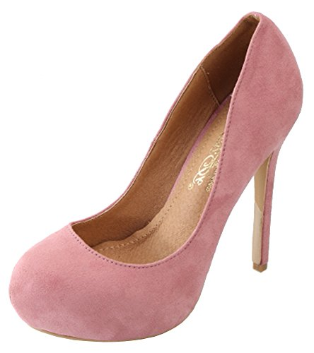 DbDk Womens Round Toe Stiletto Heel Hidden Platform Pump (7.5 B(M) US, Blush)