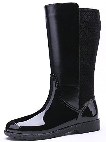 Bottes Noir Design Noir Tongpu Zip Femmes Wellington noir Classique Wellies De Pluie Des Noir 50W67gPfW