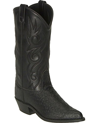Old-West-Mens-Fancy-Stitched-Ostrich-Print-Cowboy-Boot-Pointed-Toe-Vcm9022