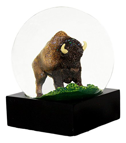 Ebros Open Range Wild Buffalo American Bison Glitter Water Globe Collectible Figurine 4.5