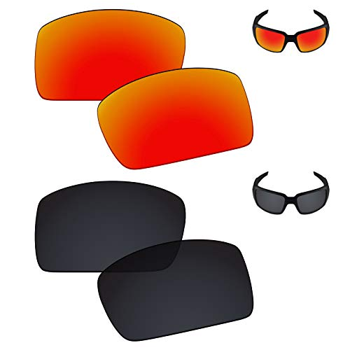 (Galvanic Replacement Lenses for Oakley Oil Drum Sunglasses - Ruby + Black Polarized - Combo Pack)