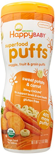 Organic Puffs - Happy Baby Organic Baby Food Superfood Puffs Sweet Potato & Carrot, 2.1 Ounce Organic Baby or Toddler Snacks, Crunchy Fruit & Veggie Snack, Choline to Support Brain & Eye Health