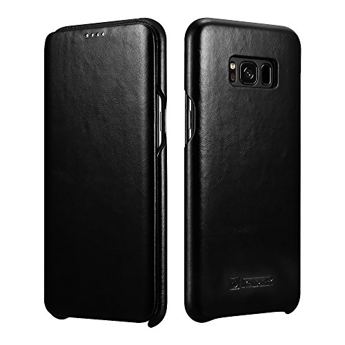 Galaxy S8 Plus Leather Case, Icarercase Genuine Vintage Leather Flip Folio Opening Cover in Curved Edge Design, Side Open Case with Hidden Magnetic Snap for Samsung Galaxy S8 Plus 6.2 Inch (Black)
