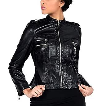 DISSA PWA15 Women Faux Leather Bomber Jacket Slim Coat Leather Jacket,Black,S,UK 8