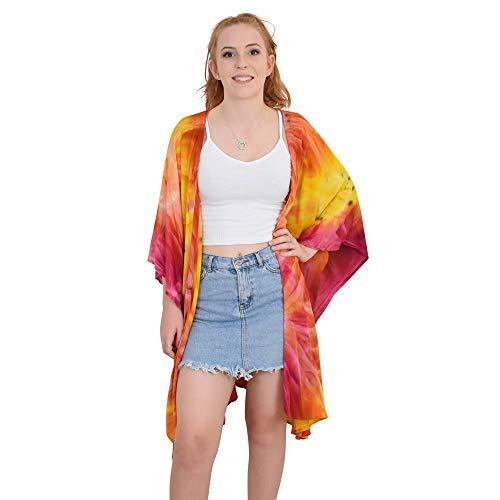 ISLAND STYLE CLOTHING Kimono Tie-Dye Resortwear Beach Cover (Orange/Yellow/Pink)