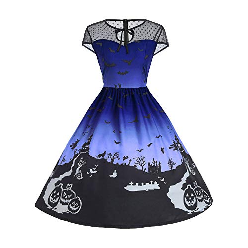 ThsiJJ Women's Halloween Night Printed Dress Mesh Patchwork Vintage Gown Short Sleeve Masquerade Party Swing Dress Blue -
