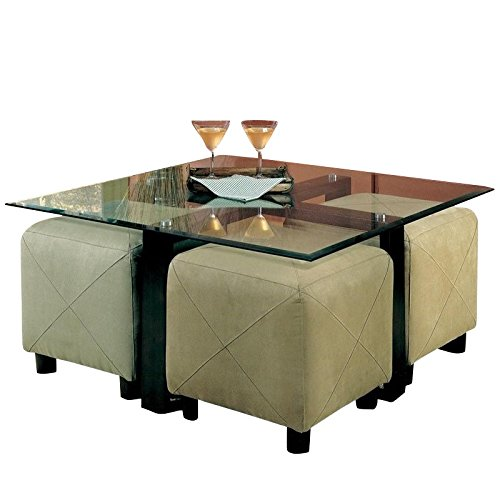 - Coffee Table with Beveled Glass Top and Black Metal Frame