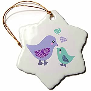 "3dRose LLC orn_120281_1 Porcelain Snowflake Ornament, 3-Inch, ""Cute Purple Mom Bird and Blue Baby Chick Boy-Kawaii Birds-For Mothers Day"""