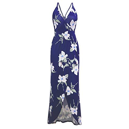 - Aunimeifly Women's Bohemian Sexy Deep V-Neck High Waist Sling Hem Split Flower Print Long Dress Blue