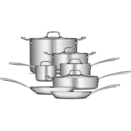 Tramontina 80116/567DS 12-Piece Tri-Ply Clad Cookware Set, Stainless Steel