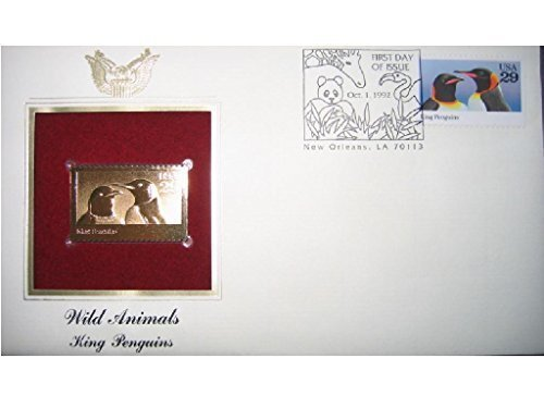 (1992 Wild Animals King Penguins 22kt Gold Golden Replica Cover 1st First Day Issue FDC FDI Stamp)