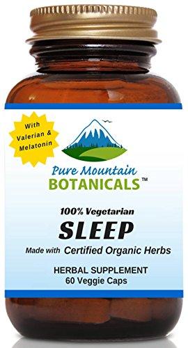 Natural Sleep Aid with Organic Valerian, Chamomile, Passion Flower, Skullcap, Melatonin, Hops & More! - 60 Vegetarian Capsules - Herbal & Non-Habit Forming