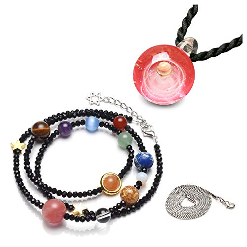 Top Plaza Fashion Glass Ball Pendant Necklace Chakra Healing Crystal Beads Adjustable Bracelet Universe Galaxy 9 Planets Jewelry Set Unique Special Birthday Christams Gift for Womens Girls #3