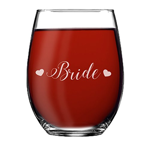 Wedding Party Stemless Wine Glasses - Etched Wine Glass Gift Favor (Hearts Style, Bride - Stemless 15oz) by My Personal Memories (Image #3)