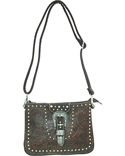 (Savana Women's Buckle Tooled Crossbody Bag Tan One Size)