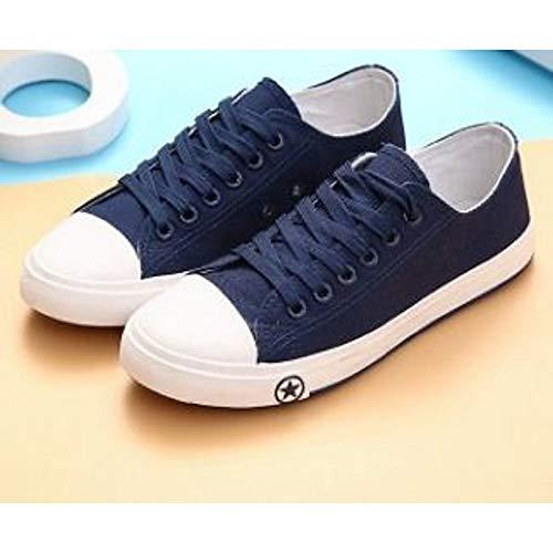 Tacón Zapatos Lienzo Plano ZHZNVX Deporte Confortable Primavera y Rojo Claro para de Blue Mujer Azul Azul Verano Zapatillas Casual q7RAw