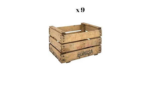 Set de 9 Cajas de Madera de Fruta en Crudo para Decorar