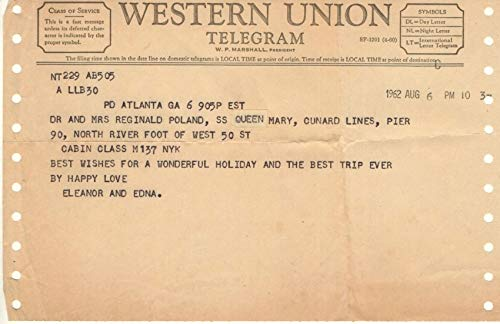 SS Queen Mary, Cunard Lines Western Union Telegram, Dated August 6, 1962