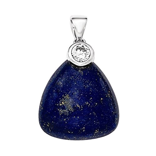 (Sterling Silver Rhodium-plated with CZ and Lapis Lazuli Pendant)