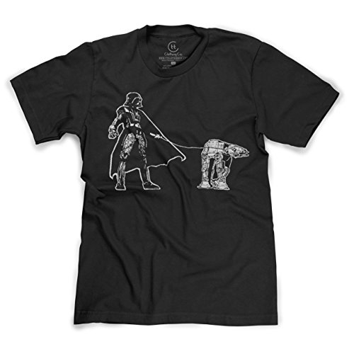 Darth Vader Walking an AT-AT Funny Star Wars Sci-Fi T-Shirt - (Black) Small