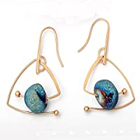 Gold Color Natural Star Stone Geometric Dangle Drop Earrings Jewelry For Women