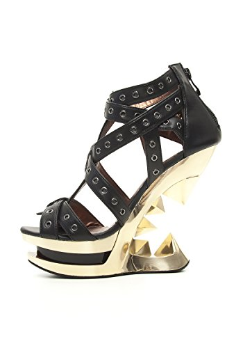 Taunt H Black Hades Wedge Shoes 9 Gold Heel wFqqE57