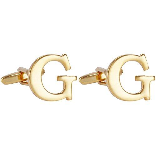 Salutto Men's Alphabet Cufflinks 1 Pair with Gift Box (Gold G)