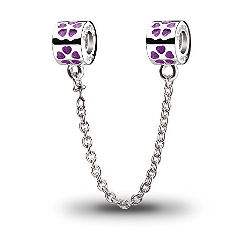 ATHENAIE 925 Sterling Silver Enamel Love Conection Safety Chain Bead Fit European Bracelets Color Purple - Enamel Bead Chain