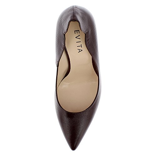 Evita Shoes Alina Damen Pumps Lack mit Prägung Bordeaux