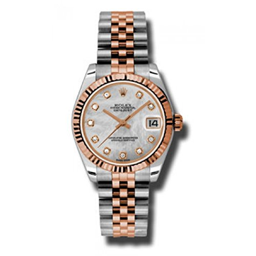 Rolex Datejust Lady 31 White Mother of Pearl Dial Stainless Steel and 18K Everose Gold Jubilee Bracelet Automatic Watch 178271MDJ (Rolex Datejust Lady 31 Rose Gold Price)